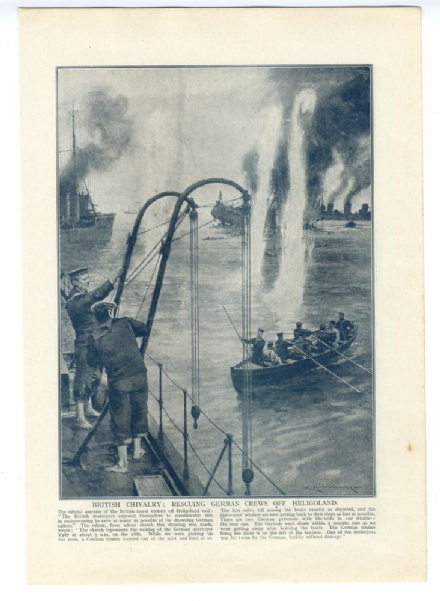 1914 PRINT HELIGOLAND Sinking German Cruiser SMS MAINZ Rescue C. M. PADDAY (20)